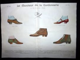 Le Moniteur de la Cordonnerie 1893 Rare Hand Colored Shoe Design Print 55